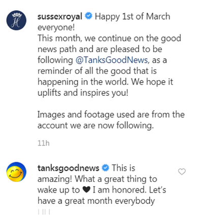 Meghan and Harry positive message on Instagram