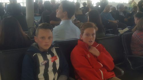 Lachlan and his friend Tyler, both 12, were left stranded for nine hours in Sydney Airport today after Jetstar abruptly cancelled five flights, including theirs. Picture: Supplied.