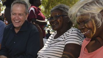 Australian Opposition Leader Bill Shorten speak to Tiwi Island elders during a community barbecue on Bathurst Island near Darwin.