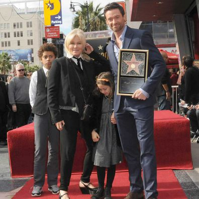 Deborra-Lee Furness, Hugh Jackman and children Oscar and Ava participate in the Hugh Jackman Star ceremony at The Hollywood Walk Of Fame on December 13, 2012.
