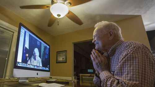 Norwood Thomas reconnected with long lost love Joyce Morris over a Skype video chat. (AAP)