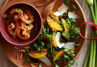Garlic prawns with orange and watercress salad