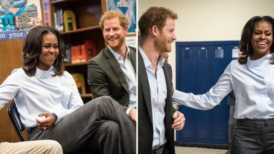 Prince Harry and Michelle Obama surprise high school students in Chicago, October 2017