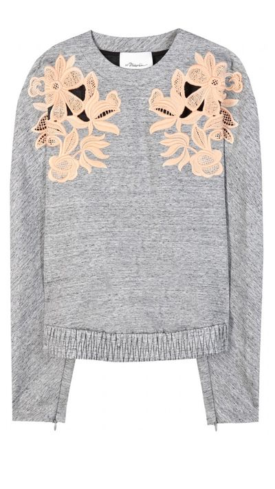 "<p><a href=""http://www.mytheresa.com/en-au/marl-sweater-with-lace-applique.html"" target=""_blank"">Marl Sweater with Lace Appliqué, $685, Philip Lim</a></p>"