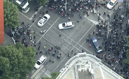Crowds are being told to avoid the Bourke Street area.