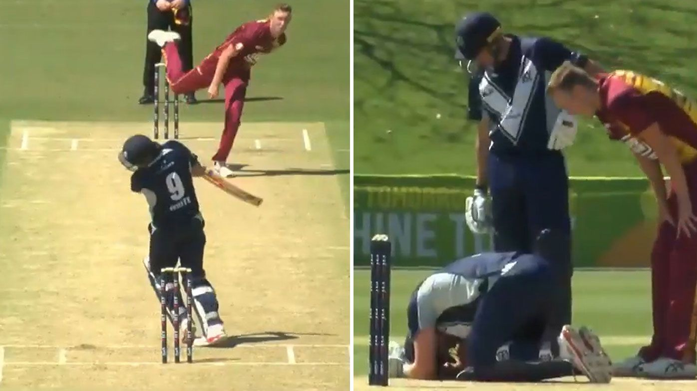 Victoria's Cameron White floored by vicious beamer from Queensland quick Billy Stanlake