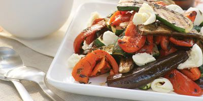 Marinated vegetables with mozzarella