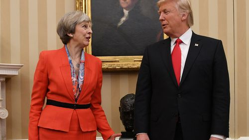 Mr Trump will hold bilateral talks with UK Prime Minister Theresa May. (AAP)