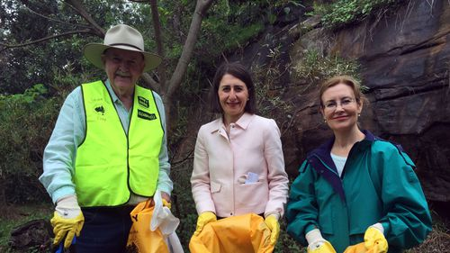 NSW Premier Gladys Berejiklian with Environment Minister Gabrielle Upton and Clean Up Australia Day founder Ian Kiernan at Mosman on Sunday, March 5, 2017.