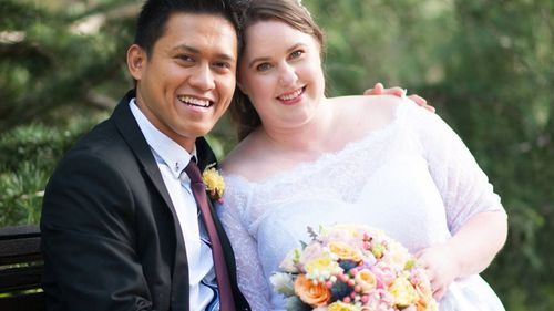 Amelia Elliott and her husband Bowie Domingo, pictured on their wedding day in 2018.