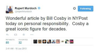 "<p>In 2013, Murdoch prophesied that Bill Cosby, who had recently been invited to write an Op-Ed for one of his papers despite the rape allegations shadowing him, would be a ""great iconic figure for decades"". </p>"