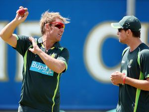 Shane Warne with James Muirhead. (Getty)