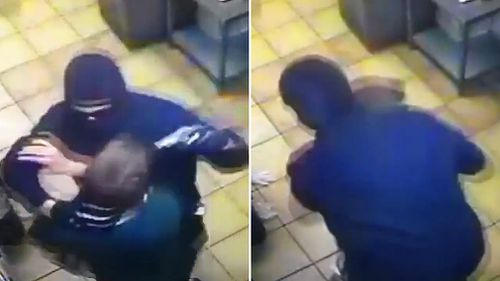 An alleged armed robber jumped the counter of a US pizza shop last Tuesday demanding cash before the restaurant's workers caught and held the man until police arrived (Supplied).