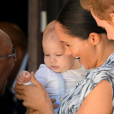 Archie Harrison Mountbatten-Windsor meets Archbishop Desmund Tutu