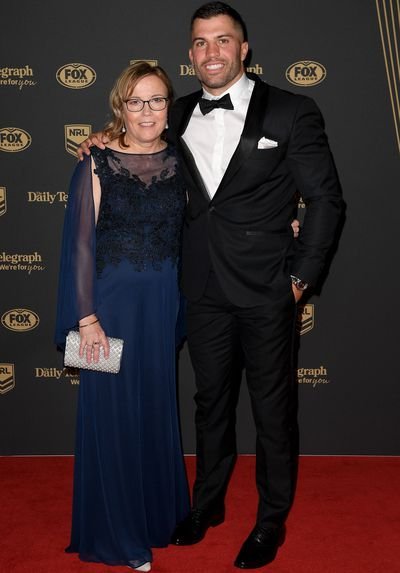 James Tedesco and his mother Rosemary at the 2019 Dally M Medal