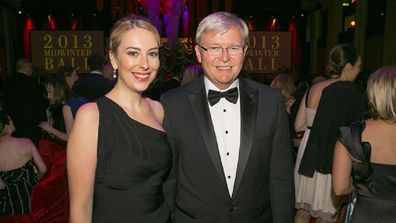 Jessica and Kevin Rudd at the mid-winter ball in 2013 when Rudd was still Prime Minister.