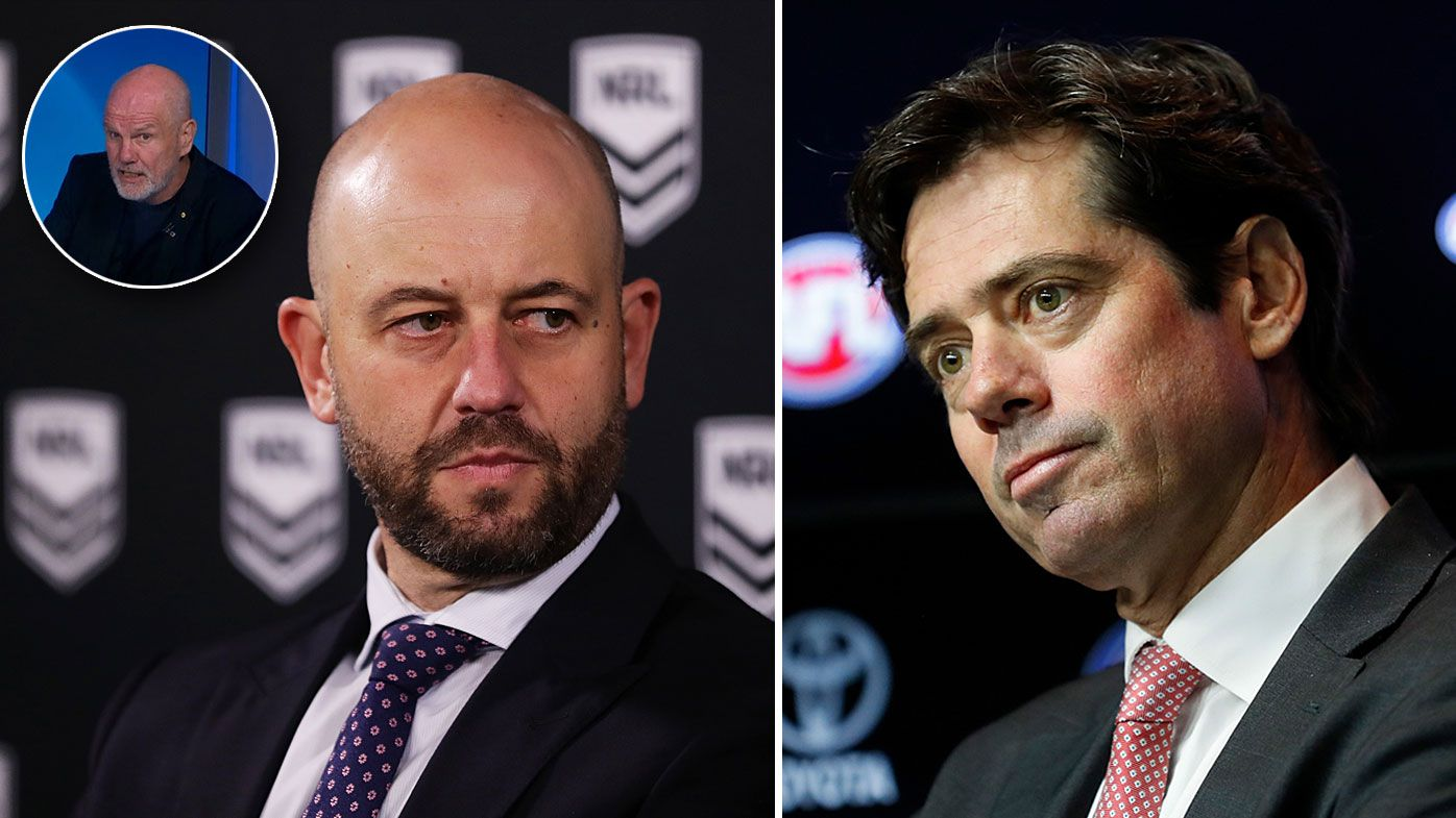 Todd Greenberg and Gillon McLachlan are both hoping the NRL and AFL seasons can continue despite the coronavirus pandemic