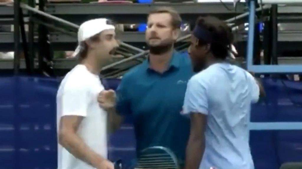 Jordan Thompson held back by chair umpire as match against Elias Ymer explodes over contested call