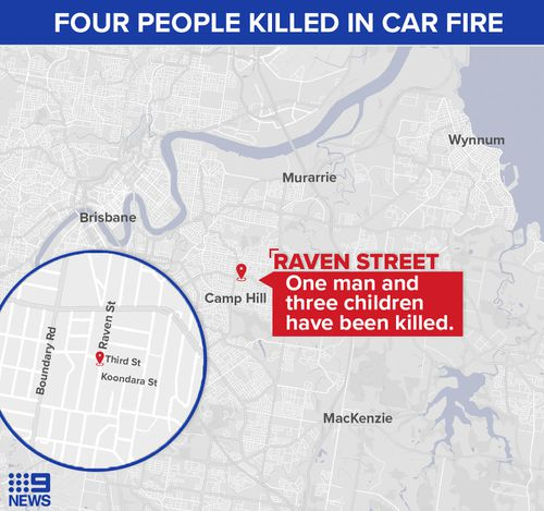 A map of Brisbane showing the location of the car on fire in Camp Hill