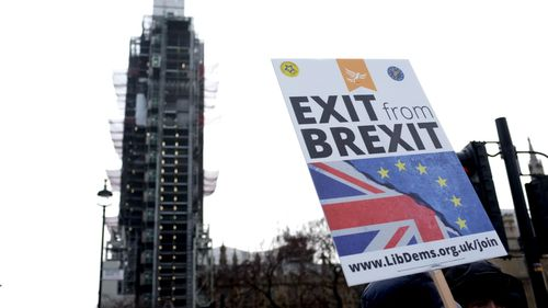 Anti-Brexit demonstrators wave EU and UK flags at Parliament Square as the government prepares for five crucial days of debate.