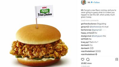 "KFC <a href=""http://kitchen.nine.com.au/2018/05/15/14/34/kfc-hits-and-misses"" target=""_top"" draggable=""false"">debut pickle burger</a>"
