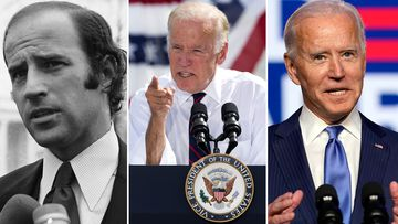 Joe Biden as (L-R) Senator in 1972, Vice President in 2016 and President Elect in 2020