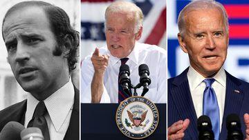 Joe Biden as (L-R) Senator in 1972, Vice President in 2016 and President Elect in 2020