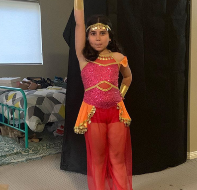 Caterina in her genie-inspired Jazz dance concert outfit.
