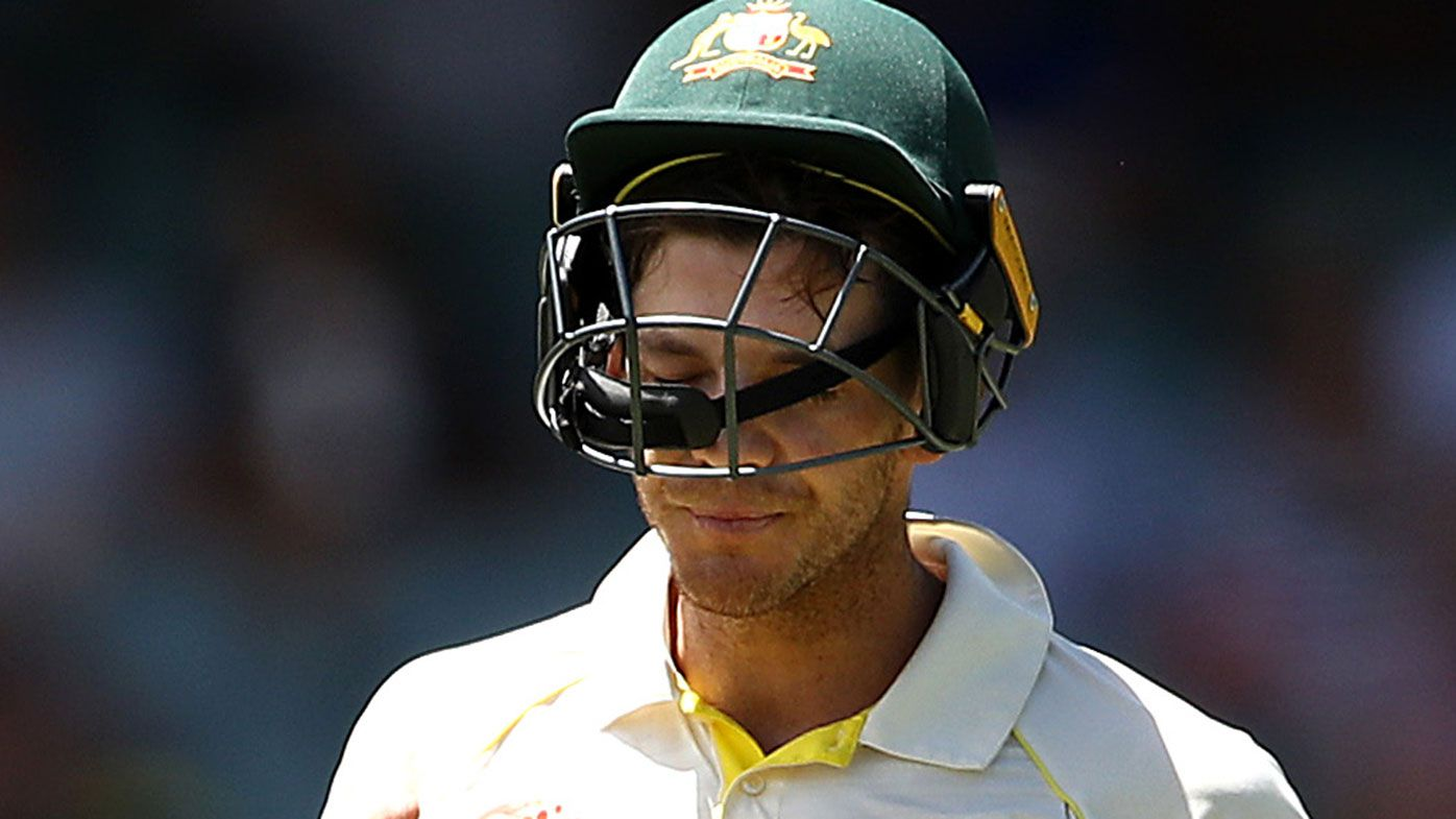 Tim Paine leaves the field in the first Test.