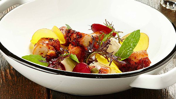 Gary Mehigan's octopus with cauliflower skordalia and pickled radish