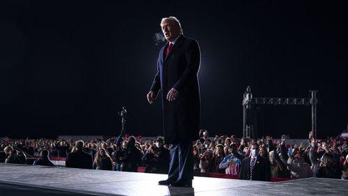 Donald Trump speaks at a rally in Dalton, Georgia.