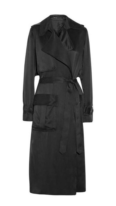 """<a href=""""http://www.greenwithenvy.com.au/product_details.php?id=00855TRHBlack6""""> Silk trench coat, $599.95, Michael Lo Sordo </a>"""