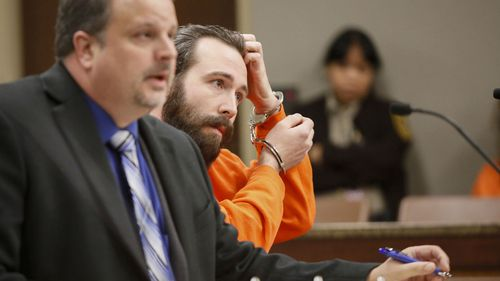 William Hoehn, right, appears with his attorney, Daniel James Borgen, in December 2017, for a hearing in Cass County Court in Fargo, North Dakota.