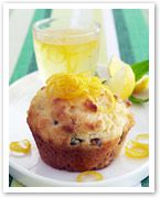 Pistachio muffins with lemon syrup