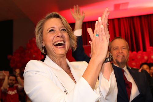 Ms Keneally reacts after arriving to her campaign launch at the Ryde Civic Hall in Sydney today. (AAP)