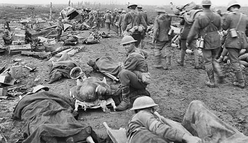 Allied casualties during The Battle of the Menin Road in September 1917. (Photo: Australian War Memorial).