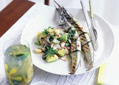 "<a href=""http://kitchen.nine.com.au/2016/05/19/15/28/garfish-with-white-bean-avocado-and-chipotle-chilli-salad"" target=""_top"">Garfish with white bean, avocado and chipotle chilli salad</a>"