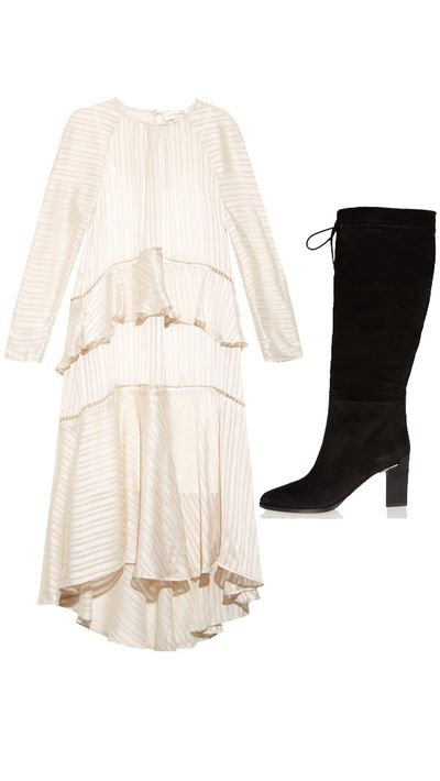 """<p>Dress: <a href=""""http://www.matchesfashion.com/au/products/Zimmermann-Tarot-striped-peplum-dress-1013760#"""" target=""""_blank"""">Tarot Striped Peplum Dress, $898, Zimmermann</a></p><p>Boots:<a href=""""http://www.theoutnet.com/en-AU/product/Calvin-Klein-Collection/Vyra-leather-knee-boots/547706"""" target=""""_blank"""">Vyra Leather Knee Boots, approx. $519, Calvin Klein Collection</a></p>"""