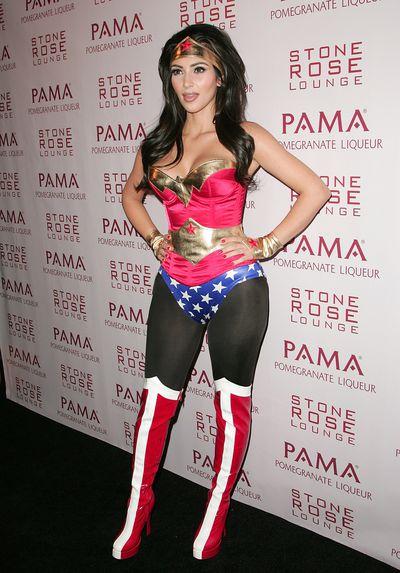 Kim Kardashian as Wonder Woman at the Blackberry Halloween party, October 30, 2008