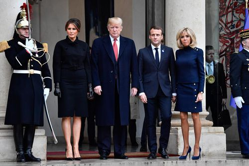 French President Emmanuel Macron welcomes US President Donald Trump for bilateral talks at the Elysee Palace in Paris on November 10, 2018.