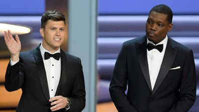 Michael Che and Colin Jost were the hosts at the 70th Primetime Emmy Awards in 2018.