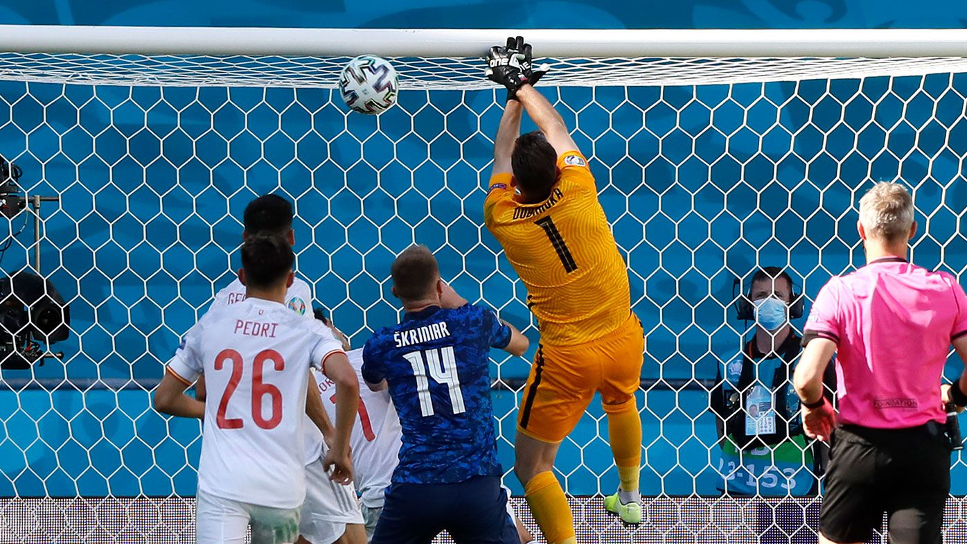 Martin Dubravka of Slovakia scores an own goal during the UEFA Euro 2020 Championship Group E match between Slovakia and Spain.