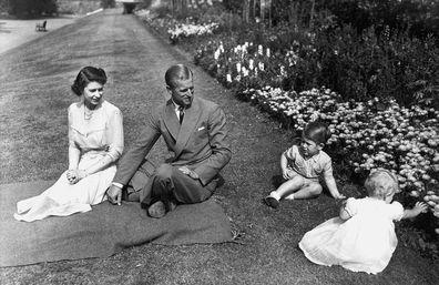 L-R: Queen Elizabeth, Prince Philip, Prince Charles, Princess Anne