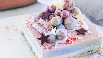 "Recipe: <a href=""http://kitchen.nine.com.au/2017/05/11/07/42/hippie-lanes-raw-rainbow-cake"" target=""_top"">Hippie Lane's rainbow cake</a>"