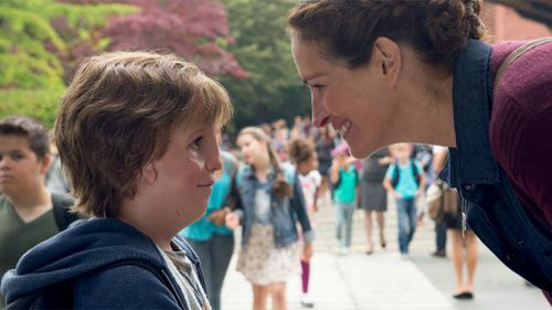 Julia Roberts and Jacob Tremblay star in the movie Wonder. (Supplied)