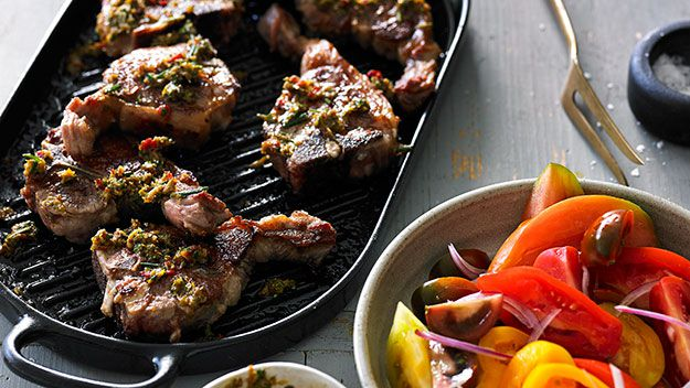 Chargrilled lamb loin chops with pounded anchovy and rosemary dressing