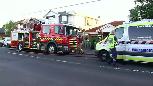A woman and her two dogs were rescued from a burning home in Melbourne. (9NEWS)
