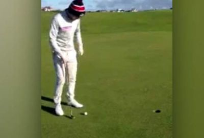 <b>An amateur golfer has taken the 'scenic route' to nail a two-foot putt for an incredible, off-the-green monster birdie.</b><br/><br/>The man was playing at The Golf House Club in Scotland, when he put his second shot to within a metre of the hole on  the 402-metre, par four ninth.<br/><br/>But instead of taking the easy tap-in birdie, he gets creative, producing an astonishing shot that needs to be seen to be believed.<br/><br/>The golfer's long-way-around putt rates alongside some of the world's very best trick shots.