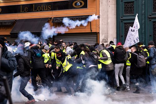 """A man has died in southern France after his car hit a truck at a road block erected by """"yellow vest"""" protesters."""