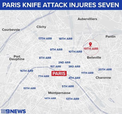 The attacker was arrested in the Quai de la Loire district, situated along the popular Villette Canal Basin, about 4km north of central Paris.